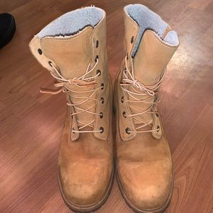 Wool lined timberlands